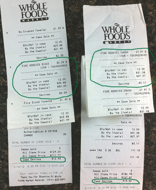 Grocery store receipts showing big savings on flats of canned tomatoes