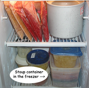 Collecting left overs in a freezer container to make free stew soup or Stoup