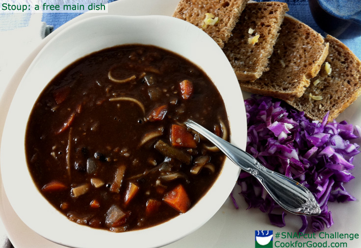 Stoup or stew soup with garlic toast and cabbage slaw for a nearly free lunch.