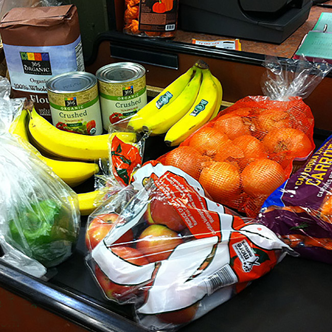 produce at supermarket checkout