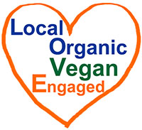 Local Organic Vegan Engaged heart logo