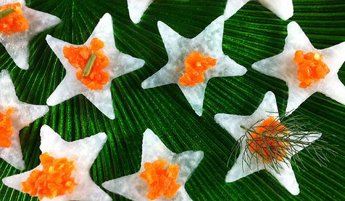 carrot puree on jicama stars