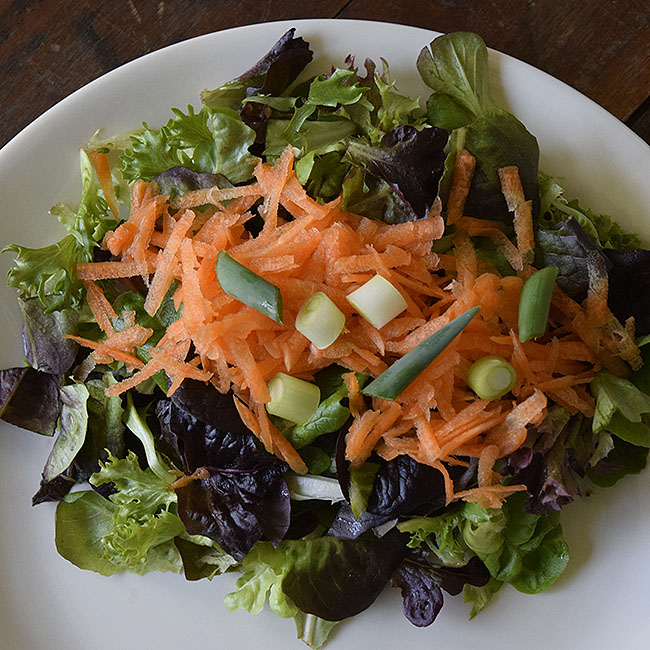 spring salad with local mesclun, carrots, and green onions
