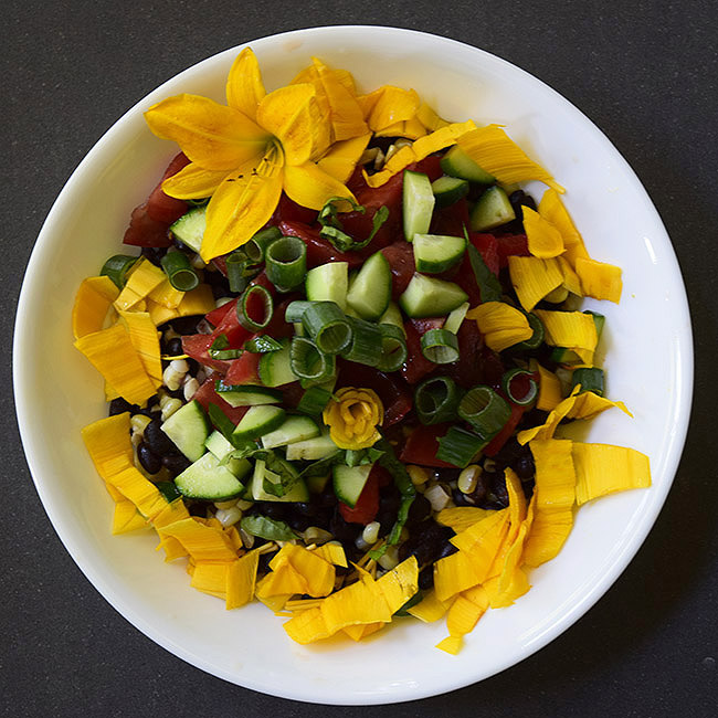 Fresh Corn and Black-Bean Salad with Optional Daylilies