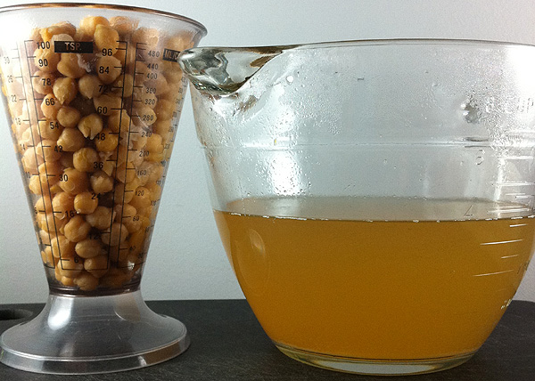 cooked chickpeas and golden chickpea broth or aquafaba
