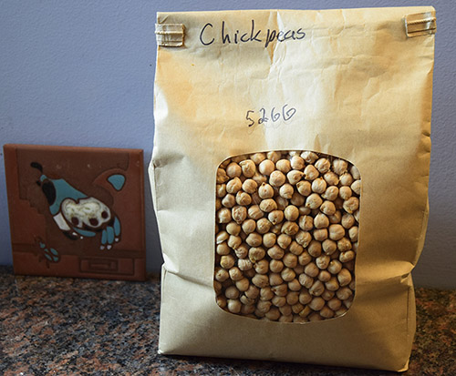 bag of chickpeas purchased in bulk section