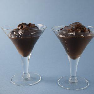 two glasses of chocolate aquafaba mousse