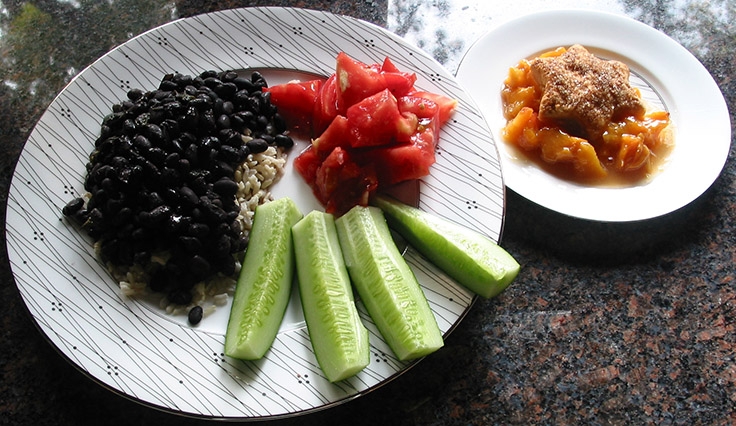 Cuban Black Beans on brown rice with peach cobbler
