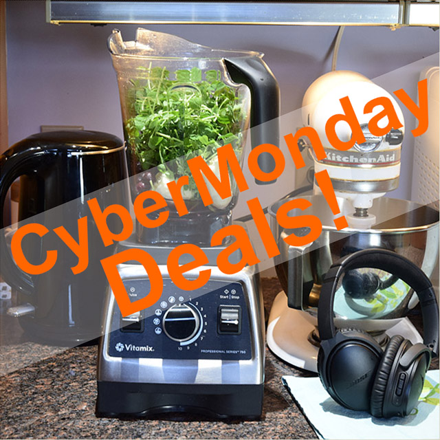 Cyber Monday Deals with kitchen appliance in background