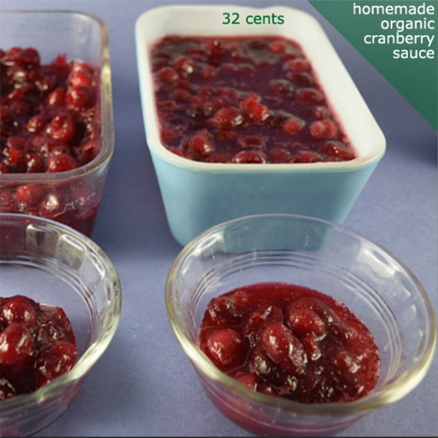homemade organic cranberry sauce in vintage Pyrex storage containers