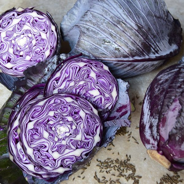 sliced red cabbage and caraway seeds