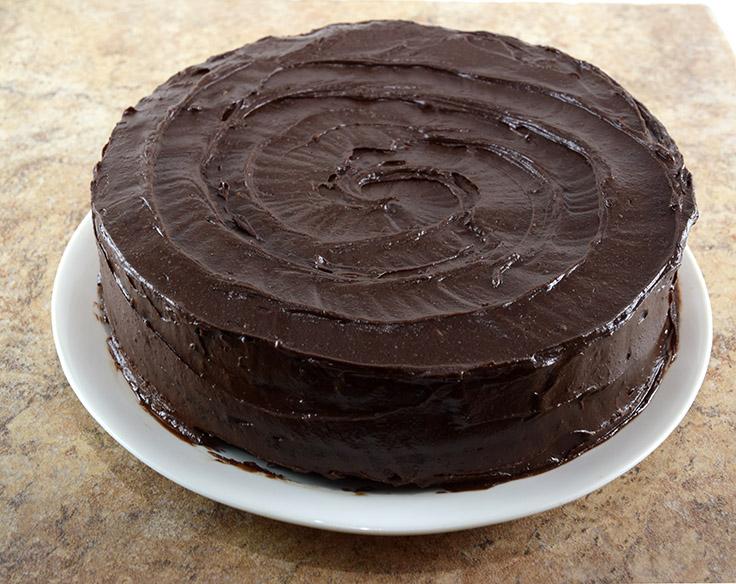 vegan chocolate hazelnut cake, whole, with swirled frosting