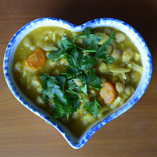Cold-Nix Soup in heart-shaped bowl