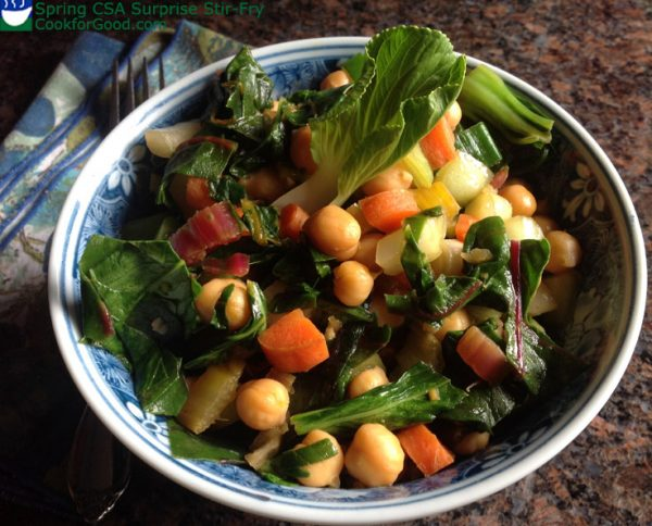 bowl of stir-fried vegetables and chickpeas