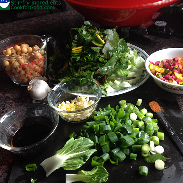 vegetables, chickpeas, and flavorings for a vegan stir fry