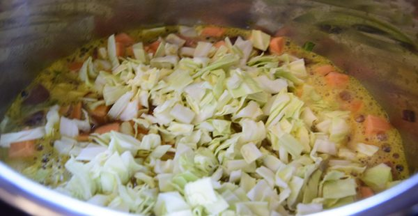 cabbage on top of Cold-Nix soup in an Instant Pot