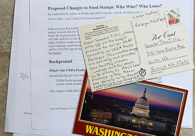 postcards and letter to congressional representatives