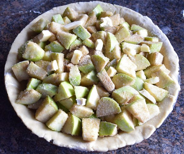 Sneaky Wheat Vegan Pie Crust filled with apples