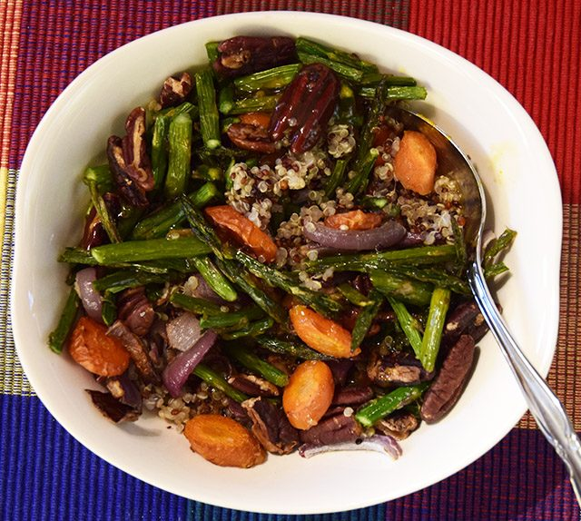 Asian Orange Sauce tossed with roasted asparagus, carrots, red onions, pecans, and quinoa