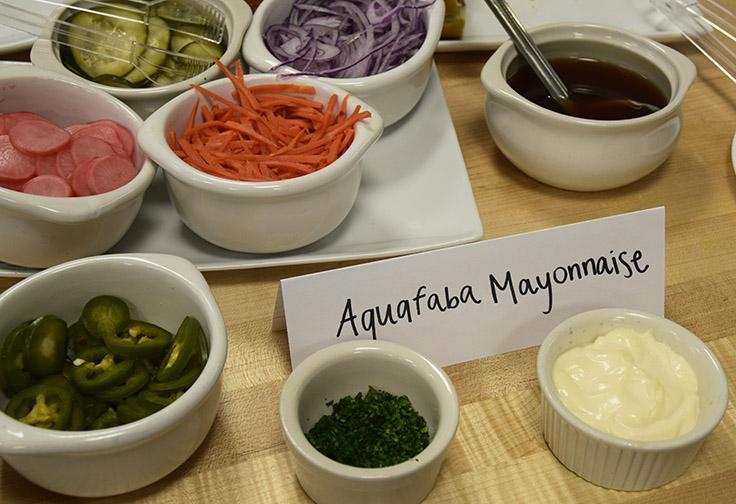 aquafaba mayonnaise with vegetables for bahn mi subs