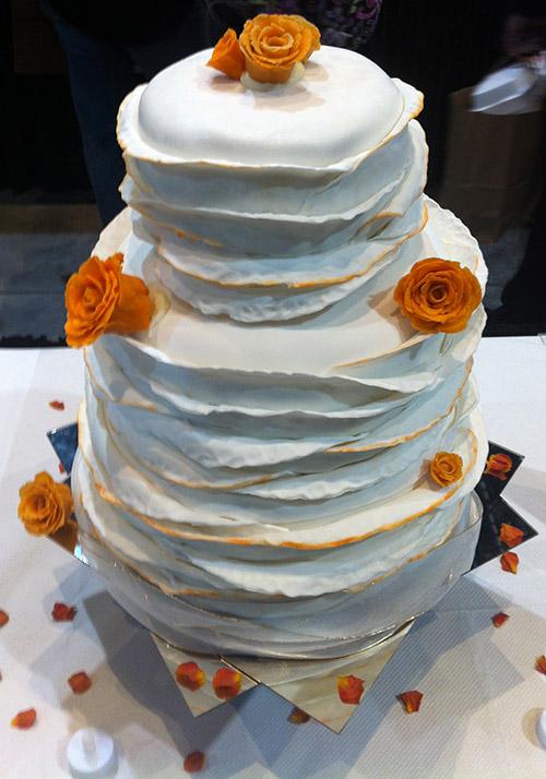 creative wedding cake from Wake Tech Culinary Arts program