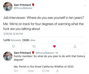 Tweet: job interviewer: Where do you see yourself in 10 years. Me: We're on track for 4 degrees warming!