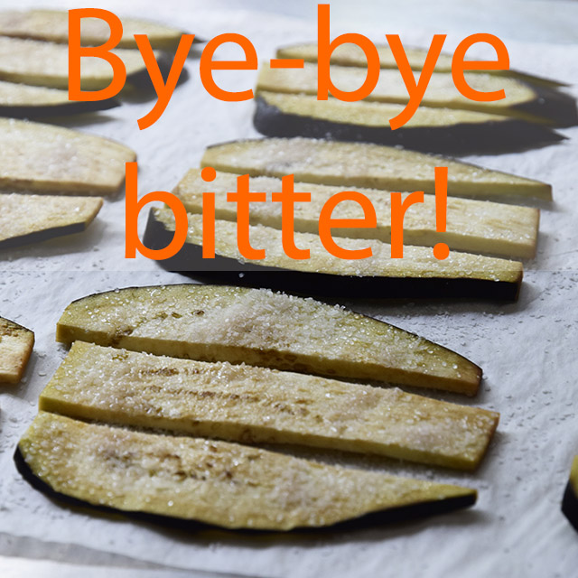 "salted eggplant slices with text ""bye-bye bitter"""