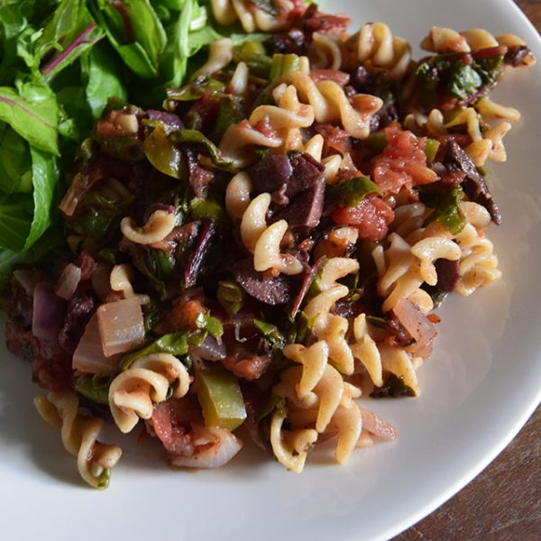 summer pasta with olives and salad