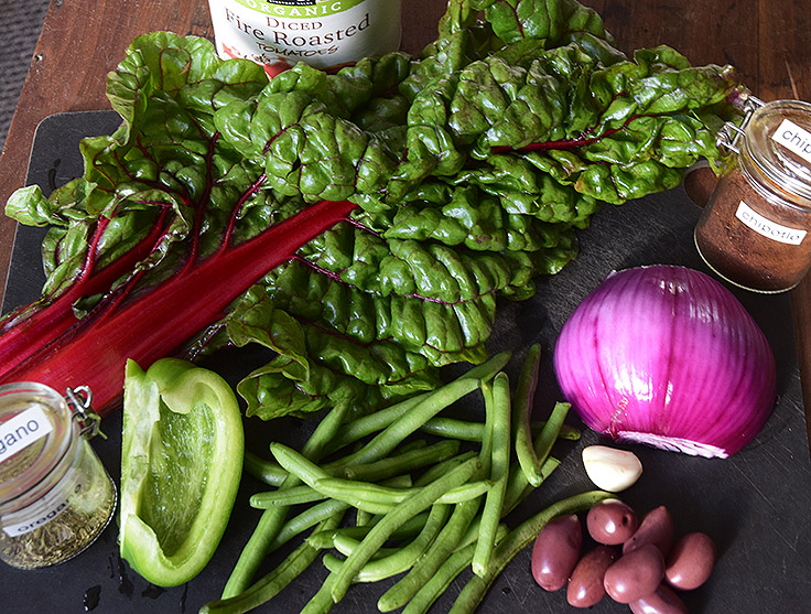 ruby chard, bell pepper, green beans, red onion, can of crushed tomatoes, and spices