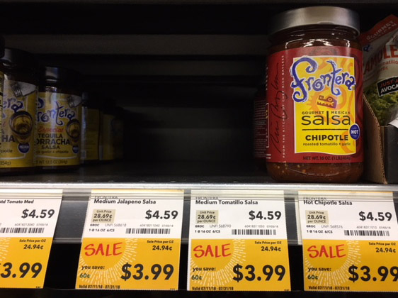 frontera salsa on sale at whole foods with mostly empty shelf