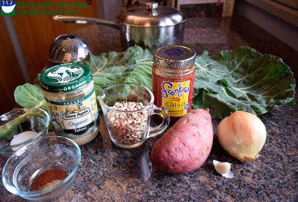 ingredients: black-eyed peas, tahini, sweet potatoes, salsa, and collards