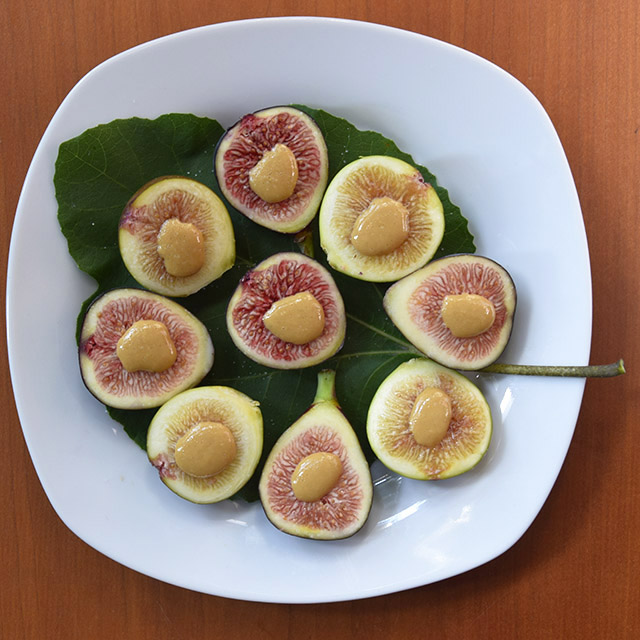fresh figs with tahini on a fig leaf and plate