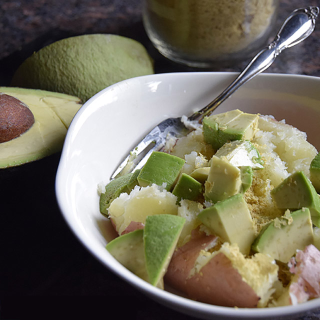 baked potato with avocado