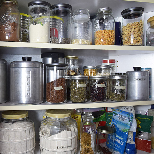 pantry full of glass jars