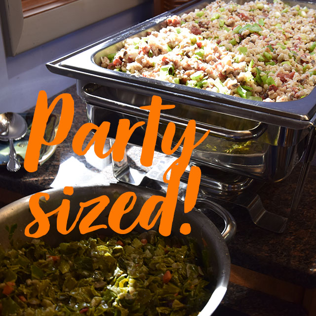 text: Party Sized! over buffet trays of hoppin' john and collards