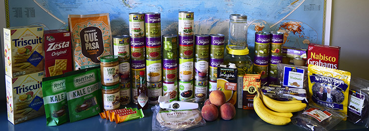 a week's worth of canned, boxed, and fresh food