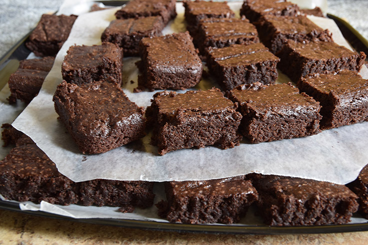 tray of chocolate sweet-potato snack cake