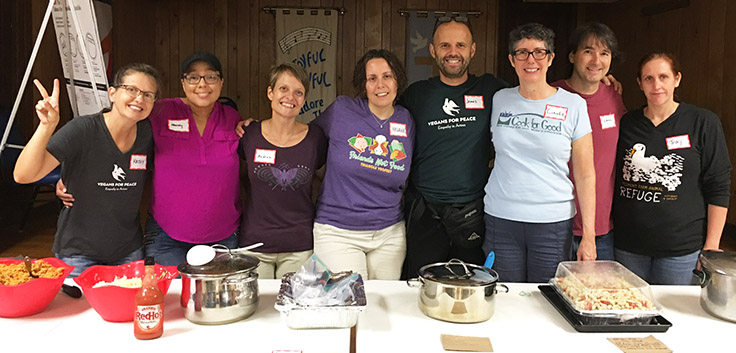 Vegans for Peace serving lunch for homeless and at-risk people
