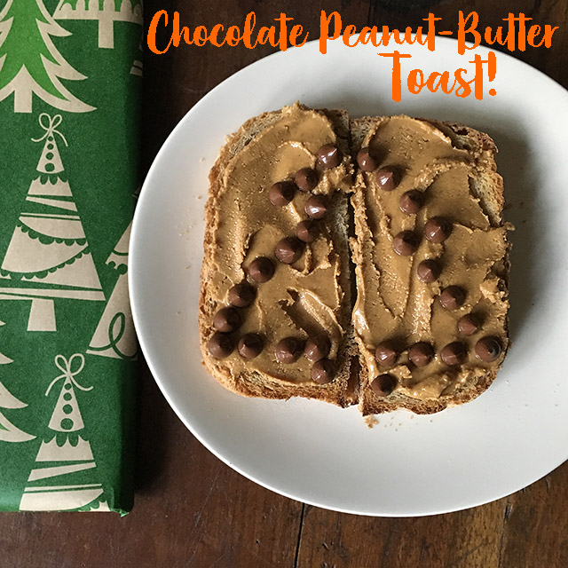 Chocolate Peanut-Butter Toaste next to wrapped Christmas gift