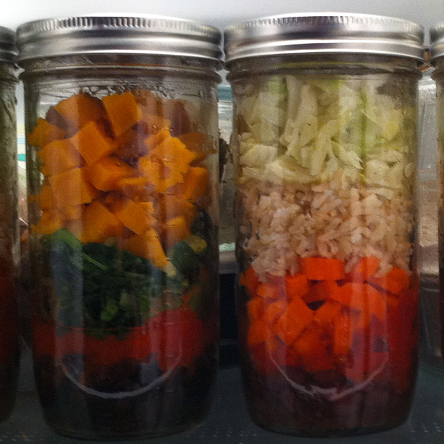 Layered lunch in a mason jar