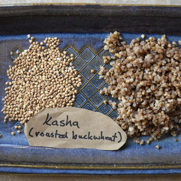 kasha or toasted buckwheat groats, raw and cooked