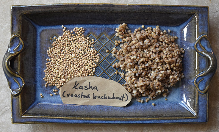 toasted buckwheat groats or kasha, raw and cooked