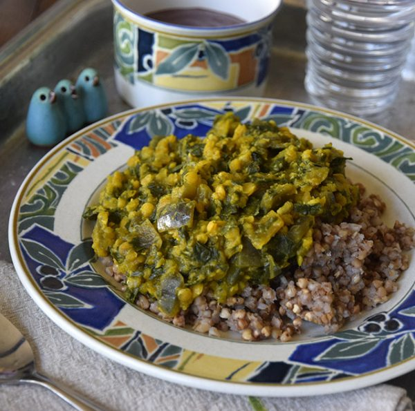 Sunny Red Lentils with Kale on Kasha