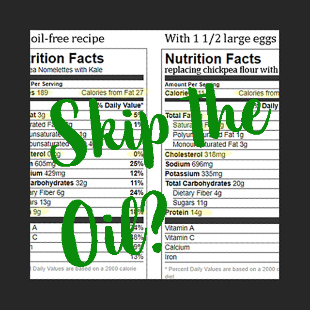 Skip the oil? with nutritional information in the background