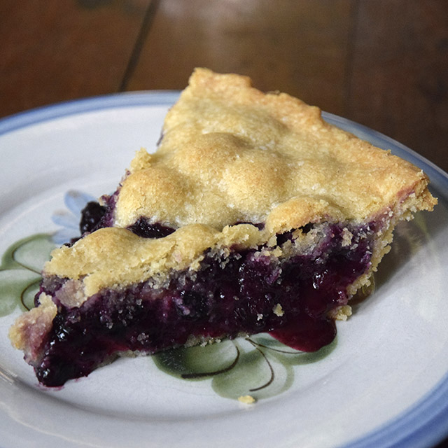 slice of homemade blueberry pie