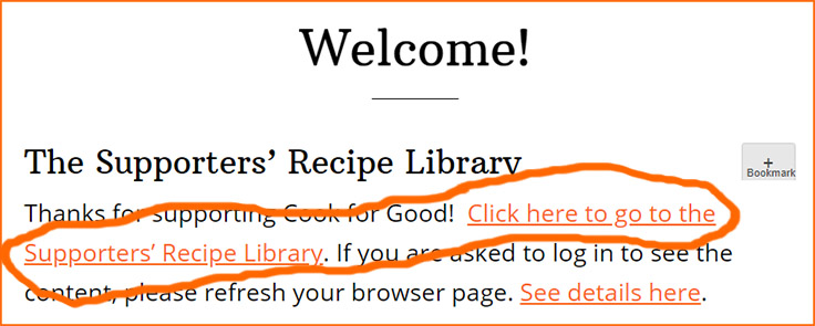 Welcome page for Cook for Good.