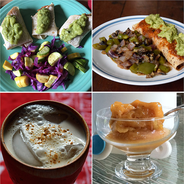 4 Mexican dishes: burritos, fajita veggies, horchata, grilled peach sorbet