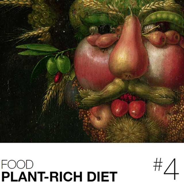 plant-rich diet, Drawdown solution #4, shown with face made from vegetables