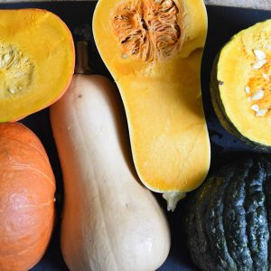winter squash inside with seeds and outside