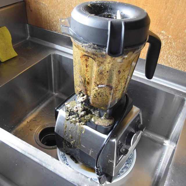 broken Vitamix blender in the sink